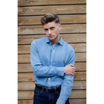 Chemise homme unie bleue ,100% lin, teinte à la main