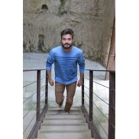 3/4 sleeved men's sailor, naturally dyed in Lectoure's Blue, 100% cotton