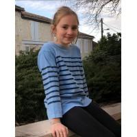 Marinière enfant à manches 3/4, teinte naturellement en Bleu de Lectoure, 100% coton