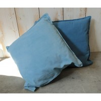 Housse de coussin unie, en coton, de forme carrée, teinte en Bleu de Lectoure