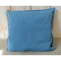 Housse de coussin unie en coton, de forme carrée, teinte en Bleu de Lectoure