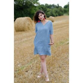 United Lectoure's Blue woman dress 100% linen