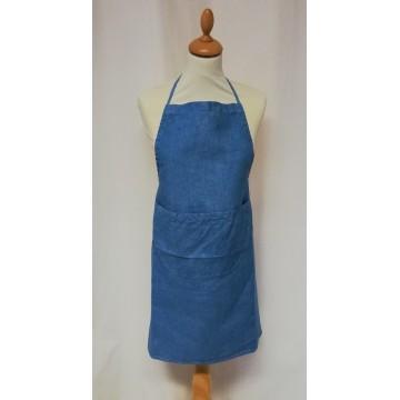 Tablier de cuisine bleu en lin, teint à la main