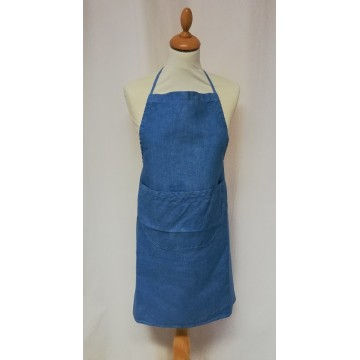Blue hand-dyed linen kitchen apron