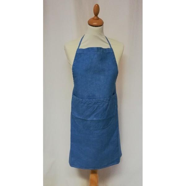 Blue hand-dyed linen kitchen apron