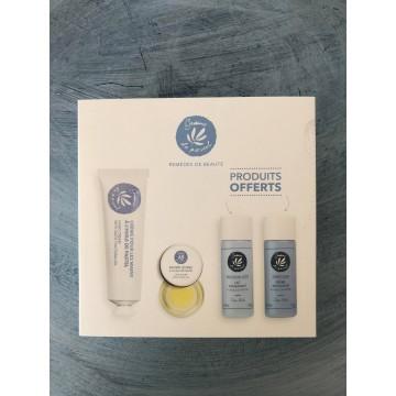 Coffret cadeau, contenant 4 produits cosmétiques à base d'huile de pastel