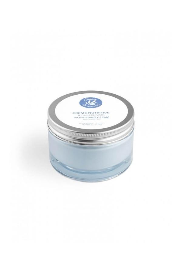 Crème nutritive pour le visage et le corps contenant de l'huile de pastel et 96% d'ingrédients naturels