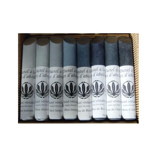 Box of 7 bold pastels stick nuanced blue charron (Isatis Tinctoria)