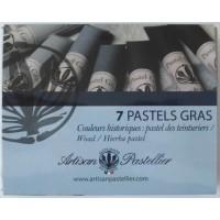 Boite de 7 pastels gras nuancés bleu charron (Isatis Tinctoria)