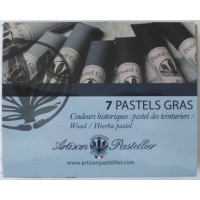 Box of 7 bold pastels stick nuanced blue charron (Isatis Tinctoria)
