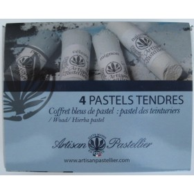 Box of 4 soft pastels color blue charron (Isatis Tinctoria)