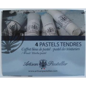 Boite de 4 pastels tendres nuancés bleu charron (Isatis Tinctoria)