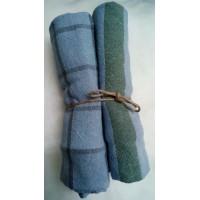 Torchon bleu avec motifs aléatoires 100% coton, teint à la main