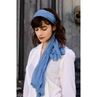 Chèche bleu 100% coton, teint à la main