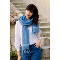 Echarpe bleue 100% lin, teinte à la main